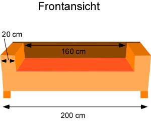 Sofa selber bauen: Frontansicht